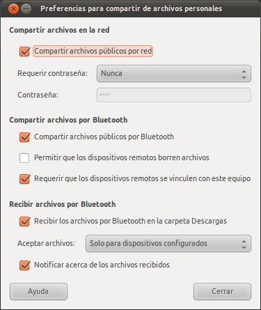 Preferencias de compartición en Ubuntu 11.04 Natty Narwhal