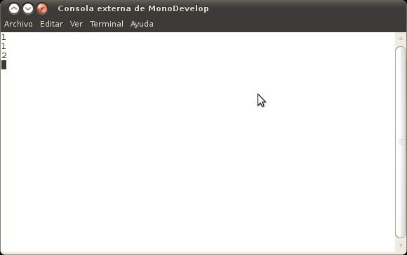 Consola externa de MonoDevelop