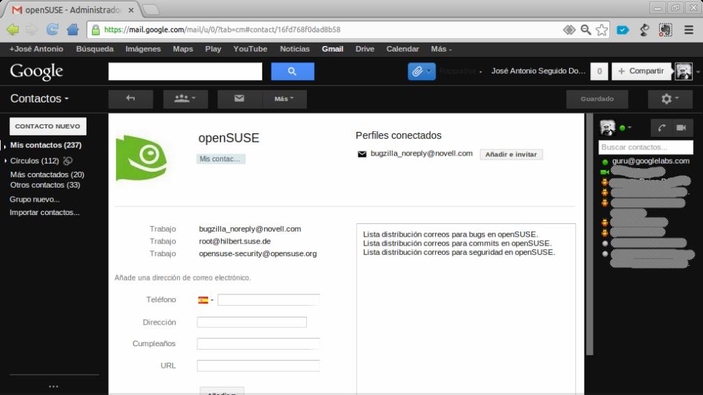 openSUSE - Administrador de contactos - jose.antonio.seguido@gmail.com - Gmail - Chromium_045