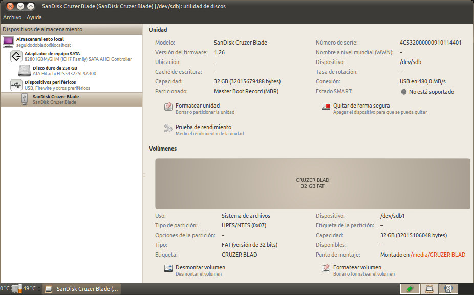 SanDisk Cruzer Blade (SanDisk Cruzer Blade) [-dev-sdb]: utilidad de discos_004