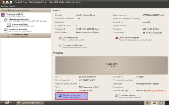SanDisk Cruzer Blade (SanDisk Cruzer Blade) [-dev-sdb]: utilidad de discos_005