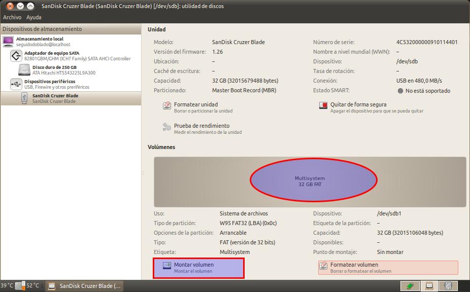 SanDisk Cruzer Blade (SanDisk Cruzer Blade) [-dev-sdb]: utilidad de discos_011