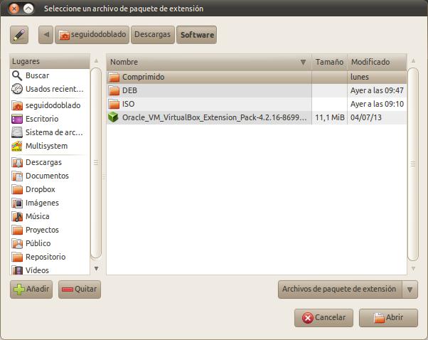 Seleccione un archivo de paquete de extensión_095